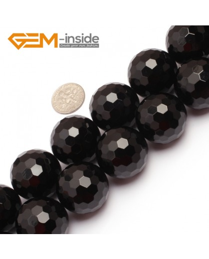 "G6807 25mm Round Faceted Natural Black Agate Onyx Beads15"" 64 Faces Natural Stone Beads for Jewelry Making Wholesale"