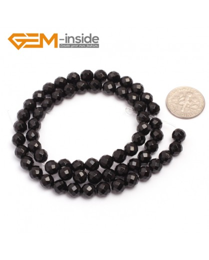 "G6808 6mm 32 Faces Round Faceted Black Agate Natural Onyx Beads 15""Jewelry Making Beads Natural Stone Beads for Jewelry Making Wholesale"