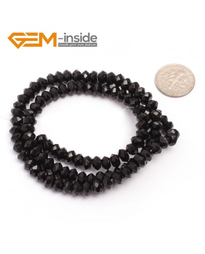 """G6816 4x6mm Rondelle Faceted Black Agate Beads Onyx Jewelry Making Beads 15"""" Selctable Sizes Natural Stone Beads for Jewelry Making Wholesale`"""
