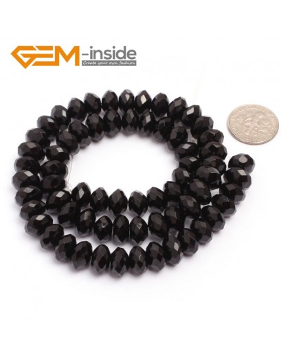 """G6822 6x10mm Rondelle Faceted Black Agate Beads Onyx Jewelry Making Beads 15"""" Selctable Sizes Natural Stone Beads for Jewelry Making Wholesale`"""