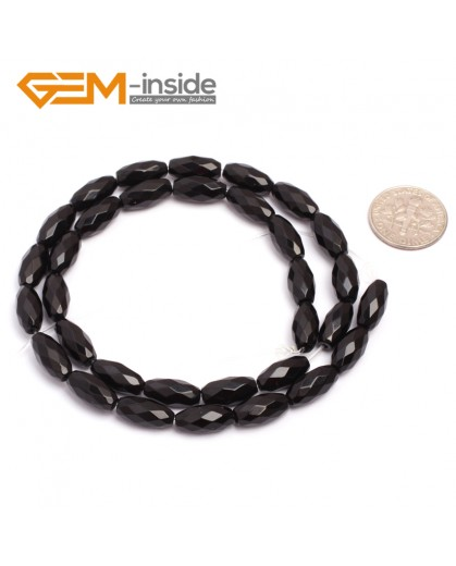 "G6823 6x12mm Natural Faceted Olivary Black Agate Onyx Beads Jewelry Making Gemstone Beads15"" Natural Stone Beads for Jewelry Making Wholesale"