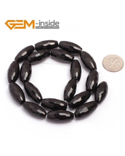 "G6828 10x20mm Natural Faceted Olivary Black Agate Onyx Beads Jewelry Making Gemstone Beads15"" Natural Stone Beads for Jewelry Making Wholesale"