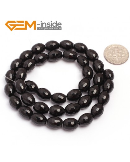 """G6833 8x10mm Olivary Natural Faceted Black Agate Onyx Loose Beads 15"""" Jewelry Making Beads Natural Stone Beads for Jewelry Making Wholesale"""