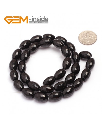 "G6835 8x12mm Olivary Natural Faceted Black Agate Onyx Loose Beads 15"" Jewelry Making Beads Natural Stone Beads for Jewelry Making Wholesale"