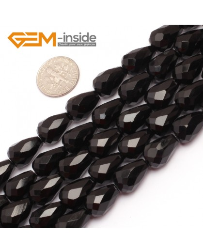 "G6841 10x14mm Drop Faceted Black Natural Agate Onyx Stone Beads Strands 15"" Natural Stone Beads for Jewelry Making Wholesale"