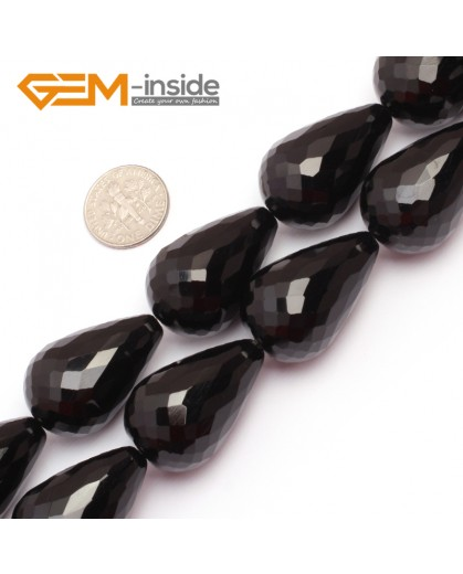 "G6842 20x30mm Drop Faceted Black Agate Onyx Stone Gemstone Beads Strands 15"" Natural Stone Beads for Jewelry Making Wholesale"