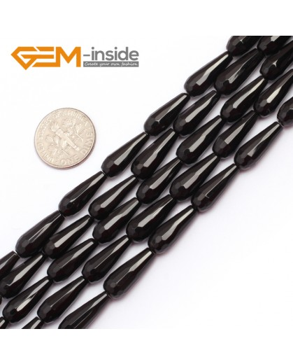 "G6844 6x16mm Drop Faceted Black Natutal Agate Onyx Loose Beads Gemstone Strands 15"" Natural Stone Beads for Jewelry Making Wholesale"
