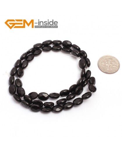 "G6866 6x8mm Oval Faceted Natural Black Agate Onyx Beads Stands 15"" Natural Stone Beads for Jewelry Making Wholesale"