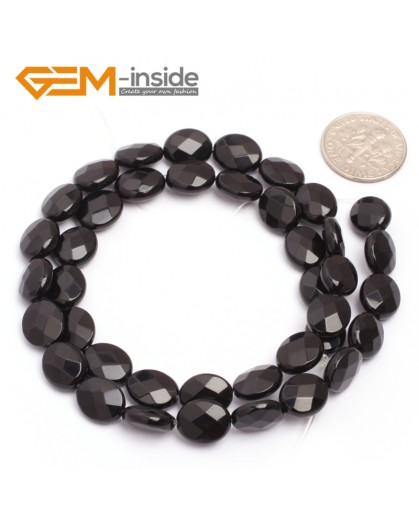 "G6867 8x10mm Oval Faceted Natural Black Agate Onyx Beads Stands 15"" Natural Stone Beads for Jewelry Making Wholesale"