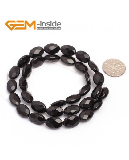 "G6868 8x12mm Oval Faceted Natural Black Agate Onyx Beads Stands 15"" Natural Stone Beads for Jewelry Making Wholesale"