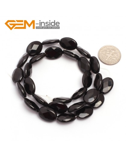 "G6869 10x14mm Oval Faceted Natural Black Agate Onyx Beads Stands 15"" Natural Stone Beads for Jewelry Making Wholesale"