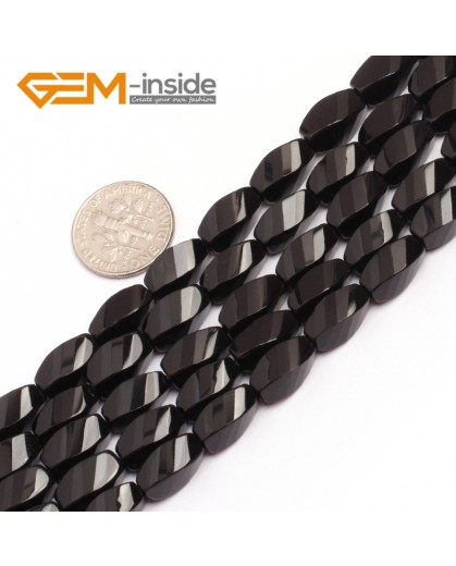 "G6874 6x12mm Twist Grum Black Agate Onyx Beads Strands 15"" Gemstone Loose Beads Natural Stone Beads for Jewelry Making Wholesale"