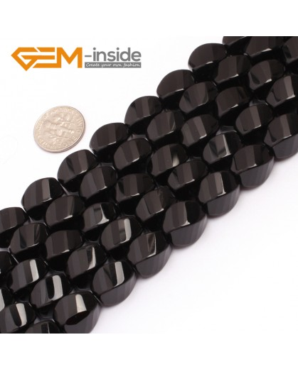 "G6877 10x14mm Twist Grum Black Agate Onyx Beads Strands 15"" Gemstone Loose Beads Natural Stone Beads for Jewelry Making Wholesale"