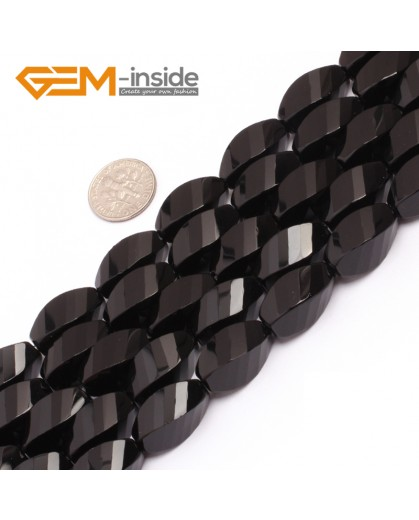 "G6878 10x20mm Twist Grum Black Agate Onyx Beads Strands 15"" Gemstone Loose Beads Natural Stone Beads for Jewelry Making Wholesale"