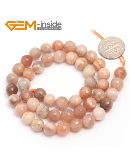 """G6903 8mm Natural Round Faceted Sunstone Loose Beads15"""" 4-12mm Jewelry Making Stone Beads Natural Stone Beads for Jewelry Making Wholesale"""