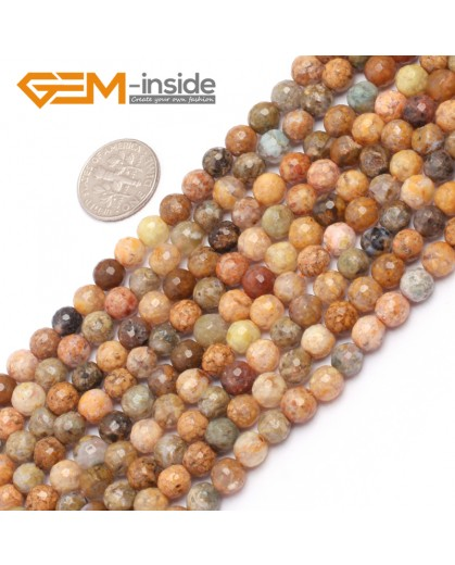 """G6924 6mm Natural Round Faceted Crazy Lace Agate Jewelry Making Loose Beads 15"""" 6-14mm Natural Stone Beads for Jewelry Making Wholesale"""