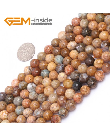 "G6925 8mm Natural Round Faceted Crazy Lace Agate Jewelry Making Loose Beads 15"" 6-14mm Natural Stone Beads for Jewelry Making Wholesale"