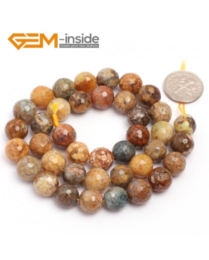 "G6926 10mm Natural Round Faceted Crazy Lace Agate Jewelry Making Loose Beads 15"" 6-14mm Natural Stone Beads for Jewelry Making Wholesale"