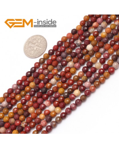 "G6929 4mm Natural Yellow Red Multi color Round Faceted Mookaite Jasper Beads Strand 15"" Natural Stone Beads for Jewelry Making Wholesale"