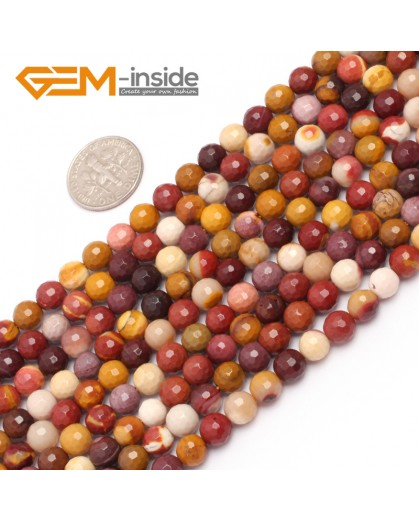 "G6930 6mm Natural Round Faceted Mookaite Jasper Beads Jewellery Making Gemstone Beads15"" Natural Stone Beads for Jewelry Making Wholesale"