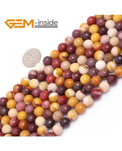 "G6931 8mm Natural Round Faceted Mookaite Jasper Beads Gemstone Stone Beads Strand 15"" Natural Stone Beads for Jewelry Making Wholesale"