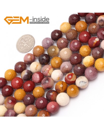 "G6932 10mm Natural Round Faceted Mookaite Jasper Beads Gemstone Stone Beads Strand 15"" Natural Stone Beads for Jewelry Making Wholesale"