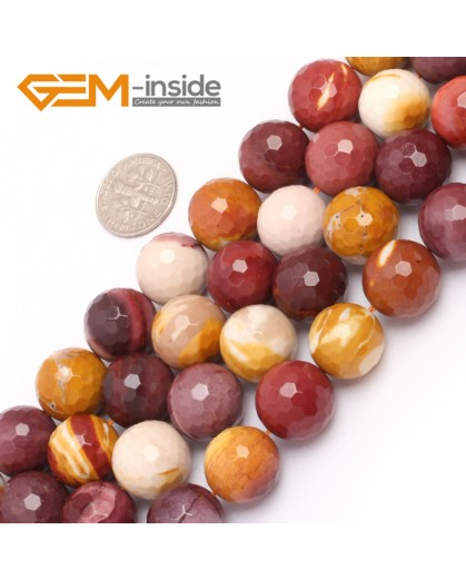 "G6934 14mm Natural Round Faceted Mookaite Jasper Beads Gemstone Stone Beads Strand 15"" Natural Stone Beads for Jewelry Making Wholesale"