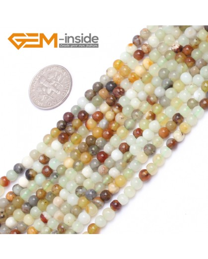 "G6939 4mm Round Gemstone Multicolor Natural Nephrite jade Hua Show Jade Beads Loose Beads strand 15"" Pick Natural Stone Beads for Jewelry Making Wholesale"