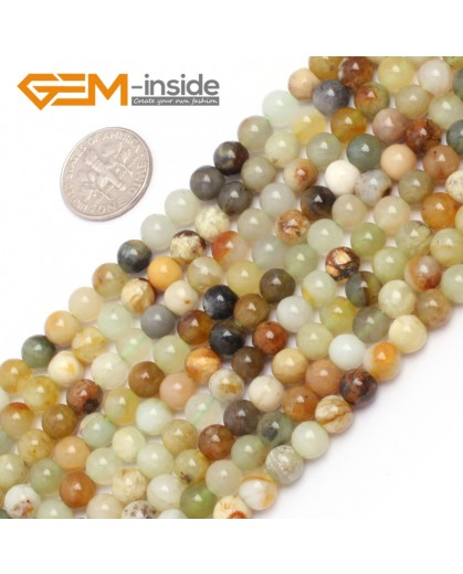 "G6940 6mm Round Gemstone Multicolor Natural nephrite jade Hua Show Jade Beads strand 15"" Natural Stone Beads for Jewelry Making Wholesale"