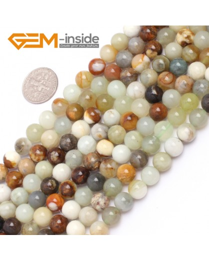 "G6941 8mm Round Gemstone Multicolor Natural nephrite Hua Show Jade Beadsstrand  15"" Natural Stone Beads for Jewelry Making Wholesale"