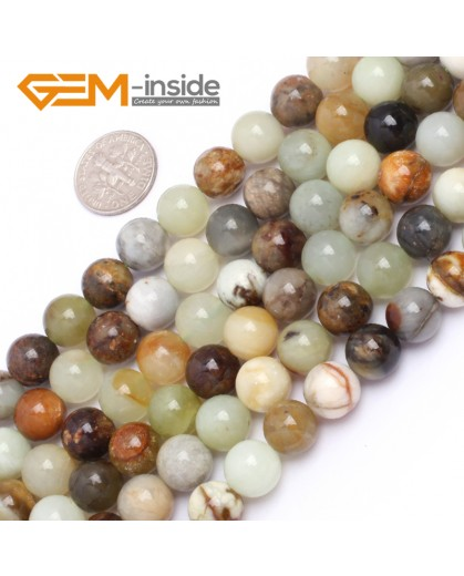 "G6942 10mm Round Gemstone Multicolor Natural nephrite Hua Show Jade Beads strand 15"" Natural Stone Beads for Jewelry Making Wholesale"