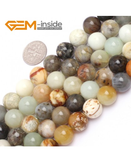 "G6943 12mm Round Gemstone Multicolor Natural nephrite Hua Show Jade Beads strand 15"" Natural Stone Beads for Jewelry Making Wholesale"