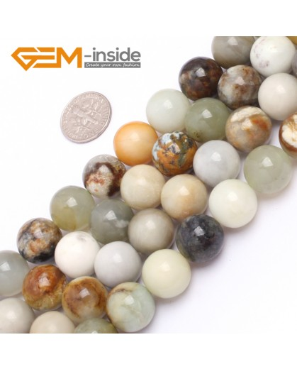 "G6944 14mm Round Gemstone Multicolor Natural Nephrite Hua Show Jade Beads strand 15"" Natural Stone Beads for Jewelry Making Wholesale"