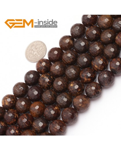 "G6946 12mm Coffe Brown Round Faceted Natural Bronzite Stone Beads strand 15"" Natural Stone Beads for Jewelry Making Wholesale"