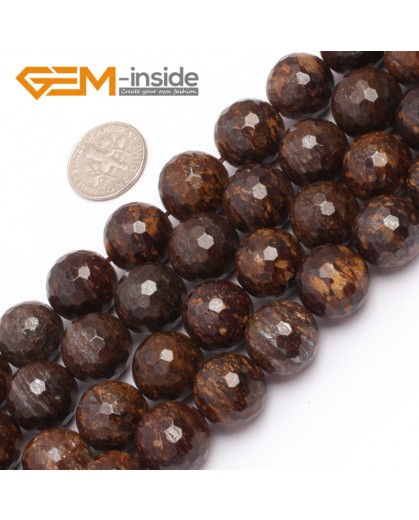 "G6947 14mm Coffe Brown Round Faceted Natural Bronzite Stone Beads Strand 15"" Natural Stone Beads for Jewelry Making Wholesale"