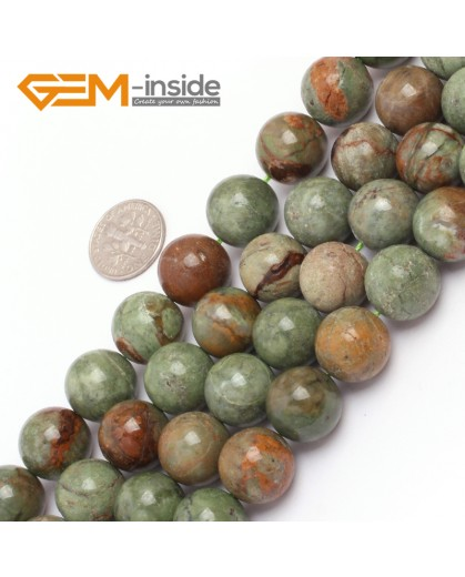 "G6963 14mm Natural Round Geen Opal Gemstone Beads Strand 15"" Natural Stone Beads for Jewelry Making Wholesale"