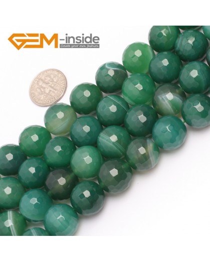 "G6972 14mm Round Faceted Green Sardonyx Agate Gemstone Loose Beads Strand 15"" Free Shipping Natural Stone Beads for Jewelry Making Wholesale"