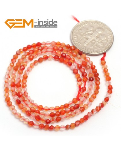 "G6997 Red Carnelian 2mm Round Faceted Gemstone DIY Jewelry Making Tiny Stone Loose Beads Strand 15"" Natural Stone Beads for Jewelry Making Wholesale`"