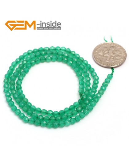 """G7009 Green Agate Indian Agate 3mm Round Faceted Gemstone DIY Jewelry Making Spacer Loose Beads Strand 15"""" Natural Stone Beads for Jewelry Making Wholesale`"""