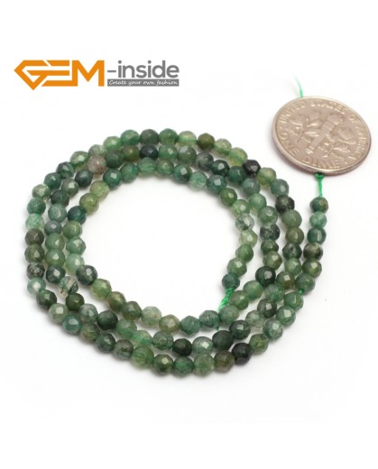 "G7010 Green Moss Agate 3mm Round Faceted Gemstone DIY Jewelry Making Spacer Loose Beads Strand 15"" Natural Stone Beads for Jewelry Making Wholesale`"