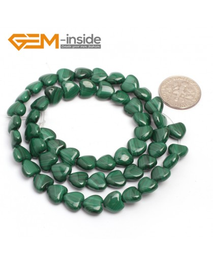 "G7021 8mm Heart Natual Malachite Gemstone 15 "" Jewelry Making Loose Beads Natural Stone Beads for Jewelry Making Wholesale"