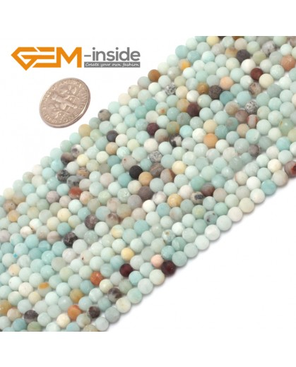 "G7029 4mm Mixed color Round Frost Mixed Color Amazonite Gemstone Loose Beads Strand 15"" Natural Stone Beads for Jewelry Making Wholesale"