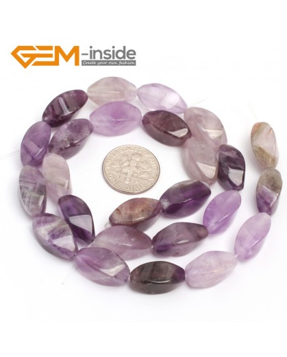 "G7117 Amethyst 8X16mm Twist Gemstone DIY Jewelry Crafts Making Stone Loose Beads Strand 15"" Natural Stone Beads for Jewelry Making Wholesale"