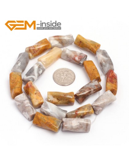 "G7144 Crazy Lace Agate 9x20mm Twist Column Gemstone DIY Jewelry Crafts Making Loose Beads strand 15""Natural Stone Beads for Jewelry Making Wholesale`"