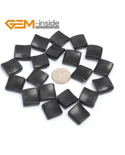 "G7161 Brazil Black Agate 15mm Square Diagonal Twist Gemstone DIY Jewelry Crafts Making Loose Beads 15"" Natural Stone Beads for Jewelry Making Wholesale`"