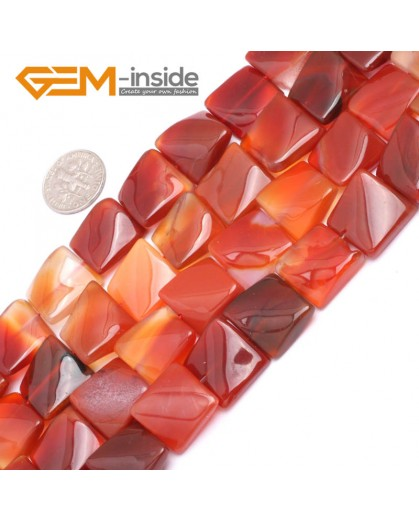 "G7165 Carnelian 16mm Square Wave Shape Gemstone DIY Crafts Jewellry Making Loose Beads 15"" Natural Stone Beads for Jewelry Making Wholesale`"