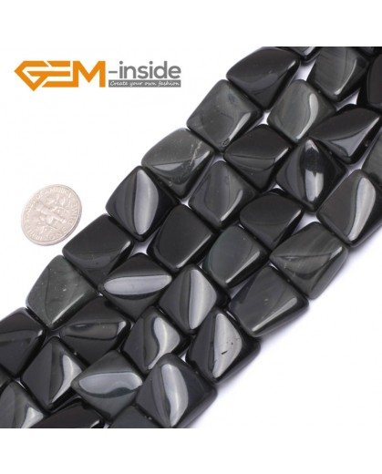 """G7171 Black Agate 16mm Square Wave Shape Gemstone DIY Crafts Jewellry Making Loose Beads 15"""" Natural Stone Beads for Jewelry Making Wholesale`"""