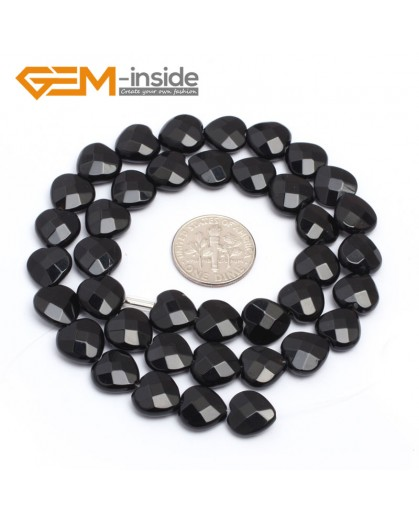 """G7234 10mm Heart Faceted Smooth/ Faceted Black Agate Gemstone DIY Jewelry Making  Loose Beads Strand 15"""" Natural Stone Beads for Jewelry Making Wholesale`"""