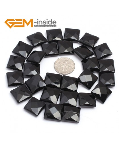 "G7241 14mm Square Faceted Smooth/ Faceted Black Agate Gemstone DIY Jewelry Making  Loose Beads Strand 15"" Natural Stone Beads for Jewelry Making Wholesale`"
