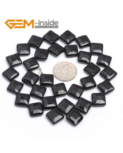 "G7243 10mm Diagonal Square Faceted Smooth/ Faceted Black Agate Gemstone DIY Jewelry Making  Loose Beads Strand 15"" Natural Stone Beads for Jewelry Making Wholesale`"